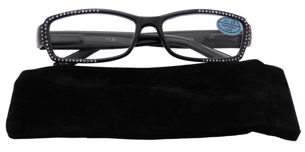 Wholesale - RS 1477 - Rectangular Rhinestones Embellished Plastic Reading Glasses - Dynasol Eyewear