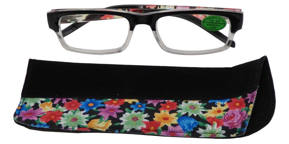 Wholesale - RS 1480 - Rectangular Horn Rimmed Two Tone with Pouch Plastic Reading Glasses - Dynasol Eyewear