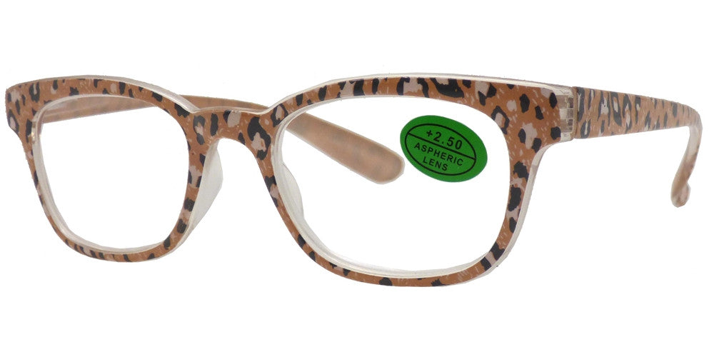 Wholesale - RS 1482 - Classic Horn Rimmed Animal Print with Pouch Plastic Reading Glasses - Dynasol Eyewear