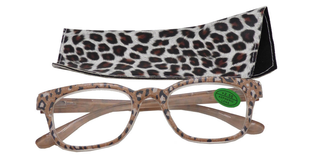 Dynasol Eyewear - Wholesale Sunglasses - RS 1482 - Classic Horn Rimmed Animal Print with Pouch Plastic Reading Glasses - reader