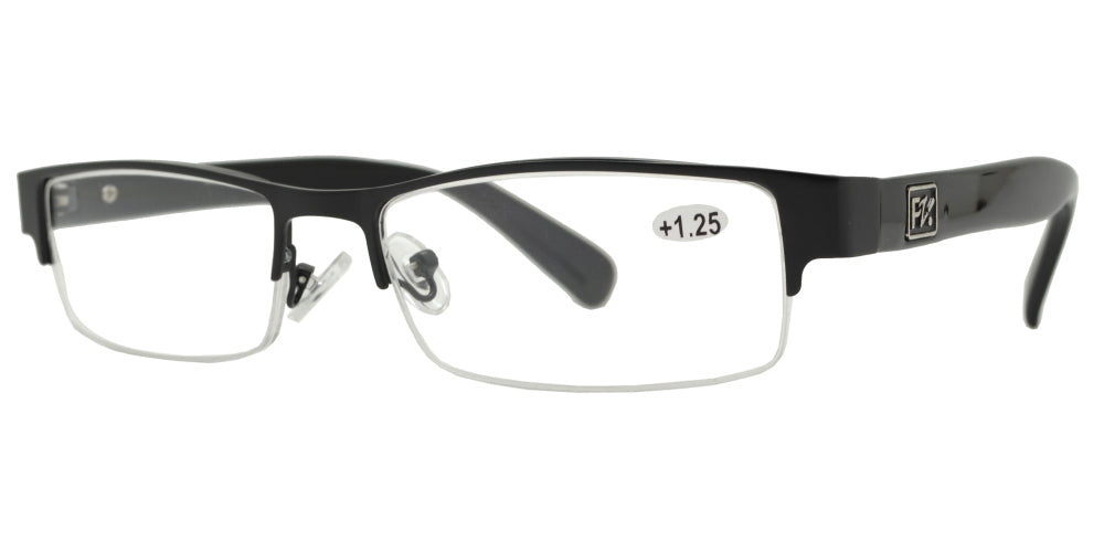 RS 1266 +1.25 Black - Horn Rimmed Half Frame Metal Reading Glasses