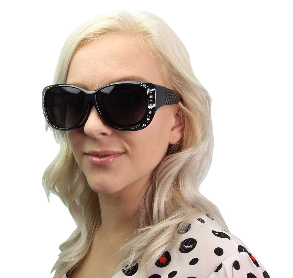 Wholesale - PL 7833 BX - Women's Cover Over Polarized Sunglasses with Rhinestones - Dynasol Eyewear