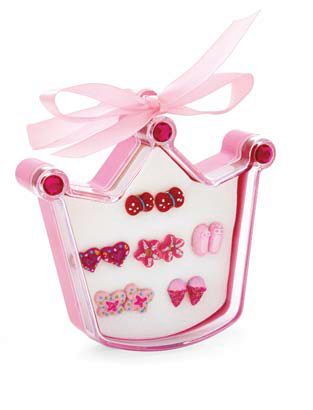 Kid's Pink earrings in crown packaging. - Honey UK Jewellery and Accessories