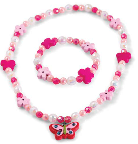 Kid's Pink necklace and bracelet set. - Honey UK Jewellery and Accessories