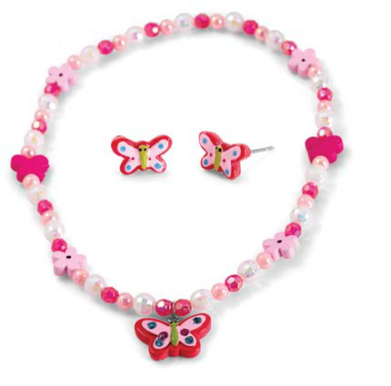 Kid's Pink necklace and earring set. - Honey UK Jewellery and Accessories
