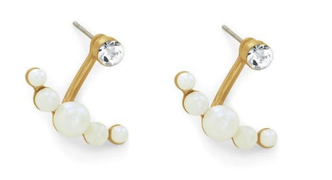 24ct gold plated earrings. Clear glass crystal. White glass pearls. 20mm drop - Honey UK Jewellery and Accessories