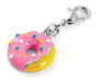 Rhodium plated doughnut charm. - Honey UK Jewellery and Accessories