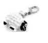 Rhodium plated sheep charm. Black and white epoxy detail. - Honey UK Jewellery and Accessories