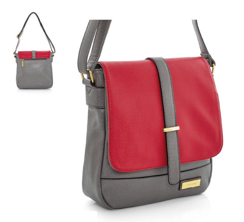 Fuchsia and grey leather-look handbag. - Honey UK Jewellery and Accessories