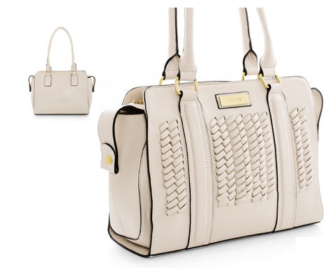 Cream  leather-look handbag. - Honey UK Jewellery and Accessories