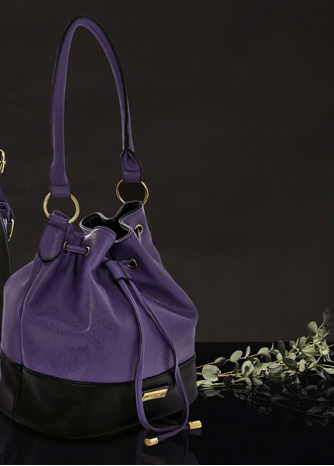 Purple and black leather-look handbag. - Honey UK Jewellery and Accessories