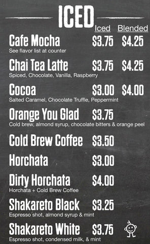 Cold Coffee Shop menu