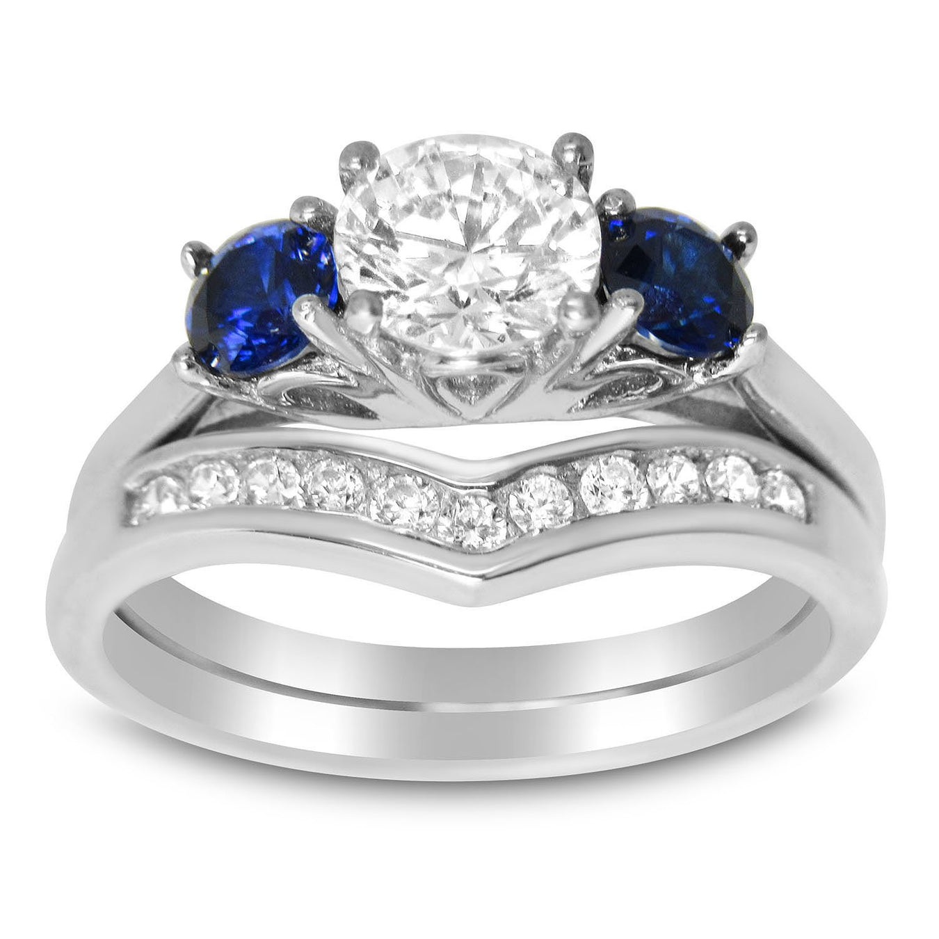 CZ Wedding Ring Set Sterling Silver