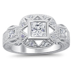 Art Deco CZ Engagement Ring