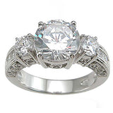 3 Stone CZ Engagement Ring