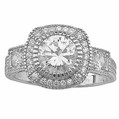 CZ Halo Engagement Ring