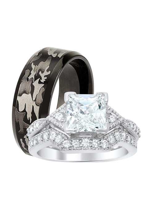 His Hers Wedding Ring Set Princess Engagement Couples Promise Rings Her 6 Him 10