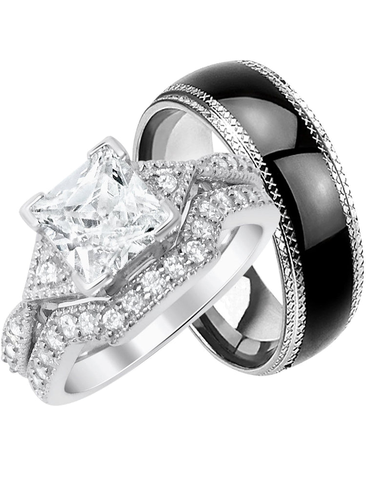 His Hers CZ Wedding Engagement Ring Set Matching Trio Bands Her 5 Him 10