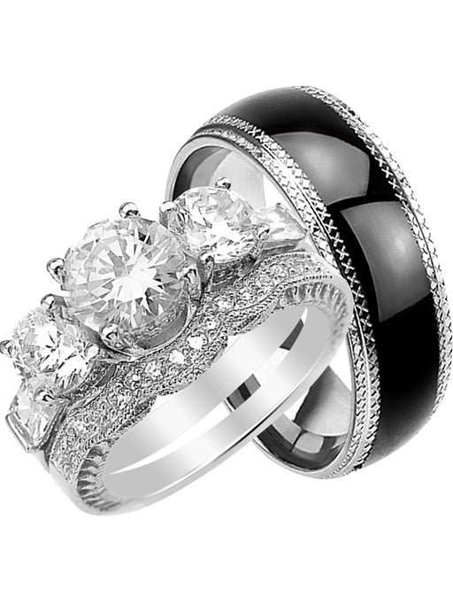 CZ Bridal Wedding Set for Her Matching Black Band for Him Size 11 and Her Size 11
