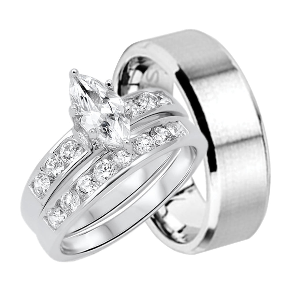 His and Hers Marquise Wedding Ring Set Matching Bands for Him and Her