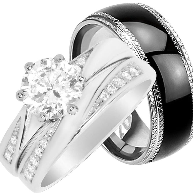 His and Hers CZ Wedding Ring Set Matching Wedding Bands for Him Size 10 and Her Size 10