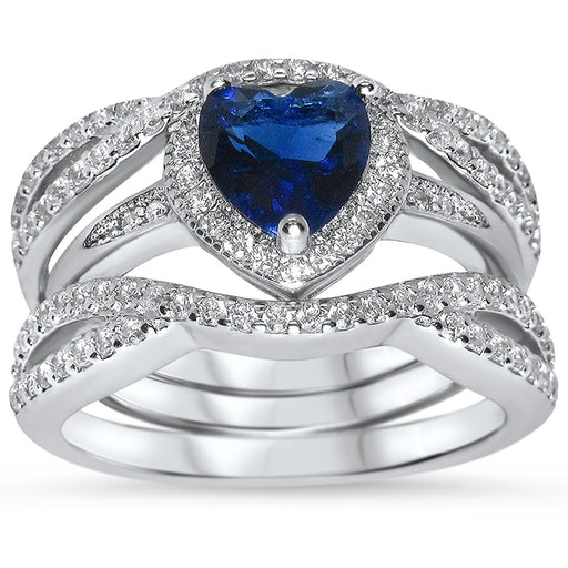 Sterling Silver CZ Wedding Ring Set Sapphire Blue