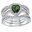 CZ Wedding Ring Set Emerald Green Sterling Silver