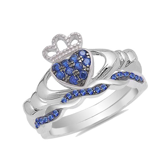 His and Hers Wedding Ring Set Blue Sapphire Unique Claddagh