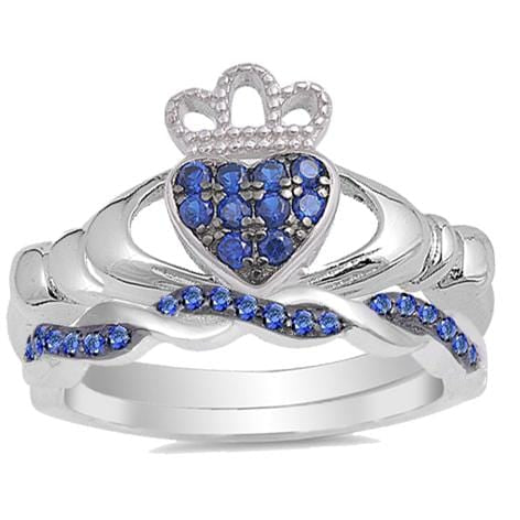 CZ Bridal Wedding Engagement Ring Set Simulated Blue Sapphire Claddagh Silver