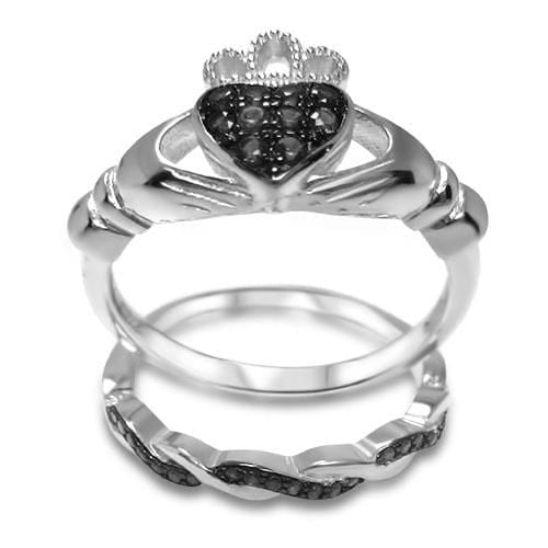 Black CZ Sterling Silver Claddagh Wedding Engagement Ring Set