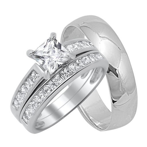 His and Hers Sterling Silver Wedding Ring Set Looks Real Not Cheap