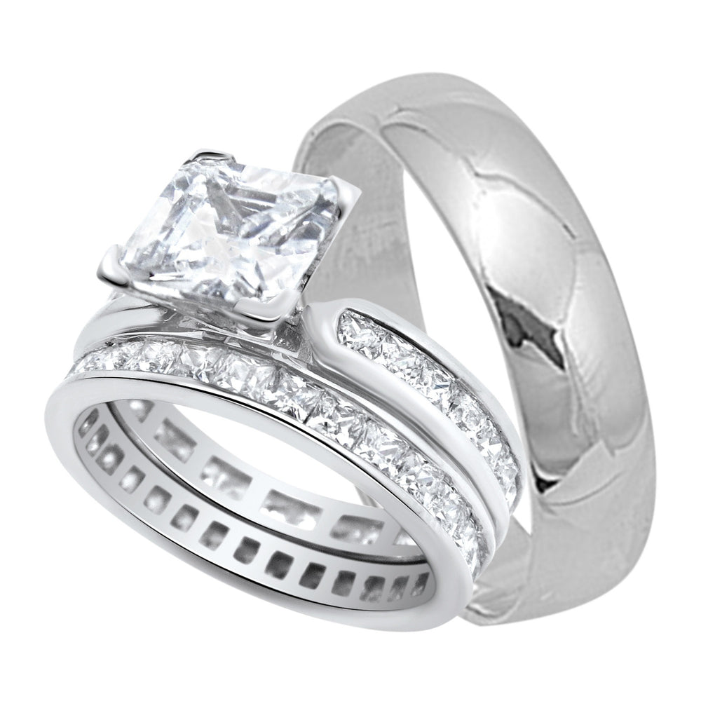 His and Her Princess Cut Sterling Silver Wedding Bands Rings Set