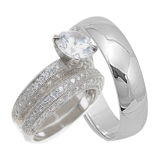 Affordable Believable His Hers Polished Sterling Silver Wedding Rings Bands Set