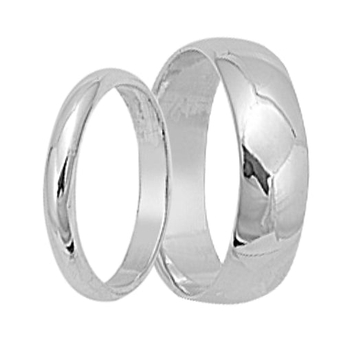 His and Her Sterling Silver Matching Wedding Bands for Him and Her