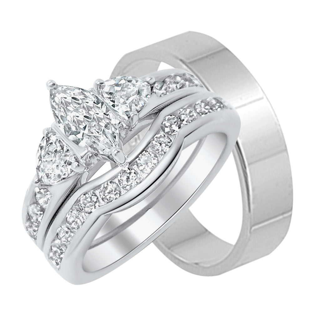 Sterling Silver His and Her Wedding Ring Set