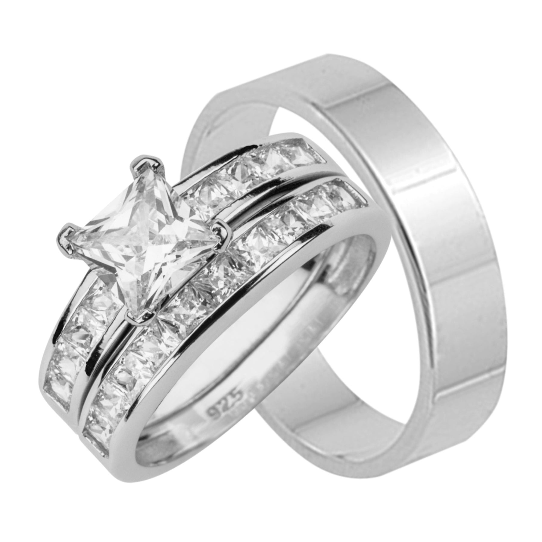 Wedding Rings Cheap.His And Hers Sterling Silver Wedding Ring Set Looks Real Not Cheap