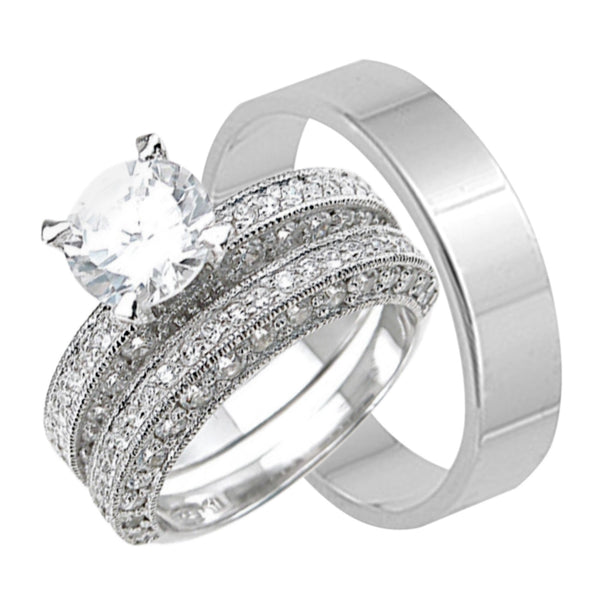 sterling silver wedding rings his hers matching wedding bands set - Silver Wedding Rings For Her