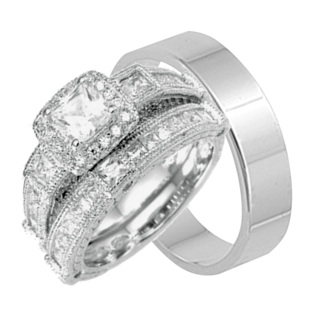 his sterling silver and hers sterling silver wedding ring sets not cheap - Wedding Ring Set His And Hers