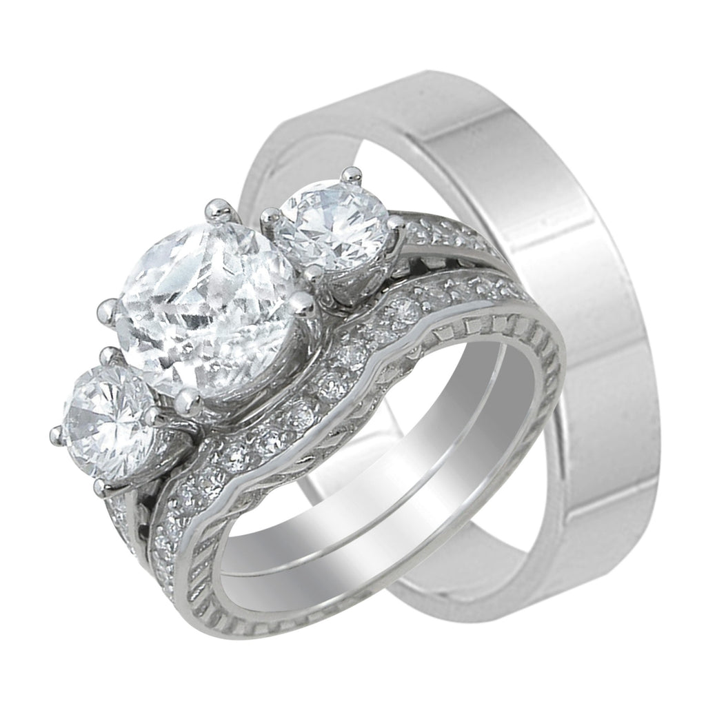 Trio His and Her 3 Stone Design Wedding Rings Set Sterling