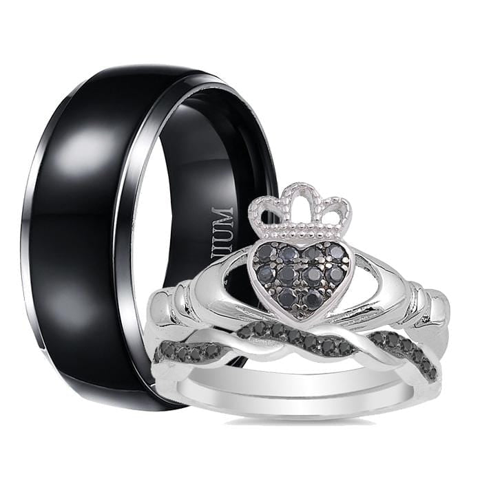 His and Hers Wedding Ring Set Black Matching Unique Claddagh