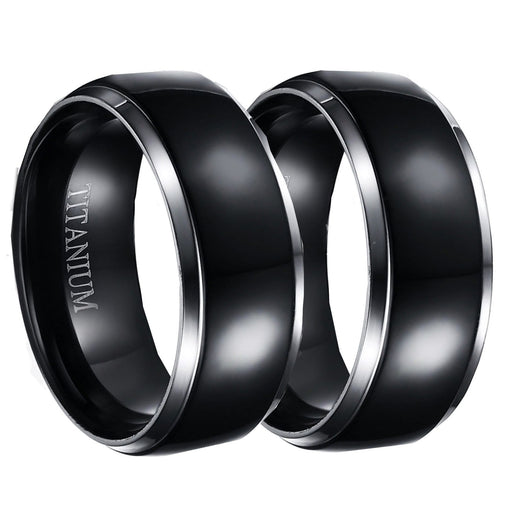 His Hers Black Wedding Ring Set