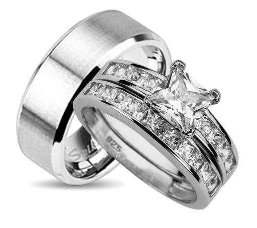 His and Hers Wedding Ring Set HER - Sterling Silver - HIM - Stainless Steel