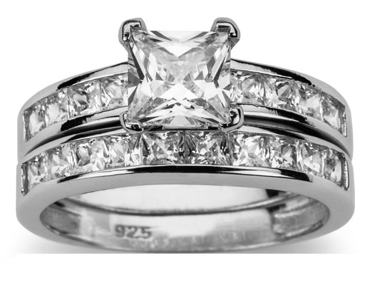 His Hers Princess Cut CZ Wedding Ring Set Sterling Silver Titanium