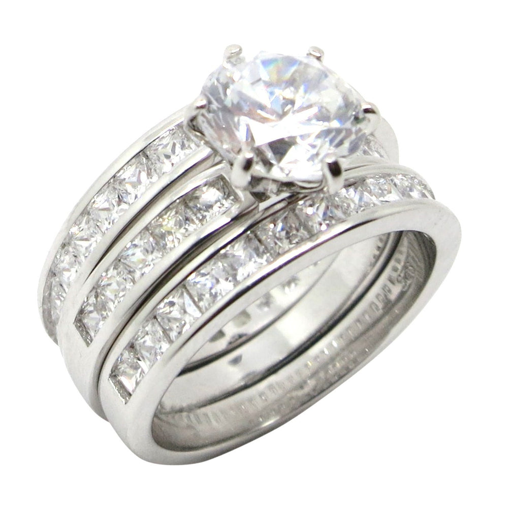 Trio CZ Wedding Engagement Ring Set for Women in Sterling Silver