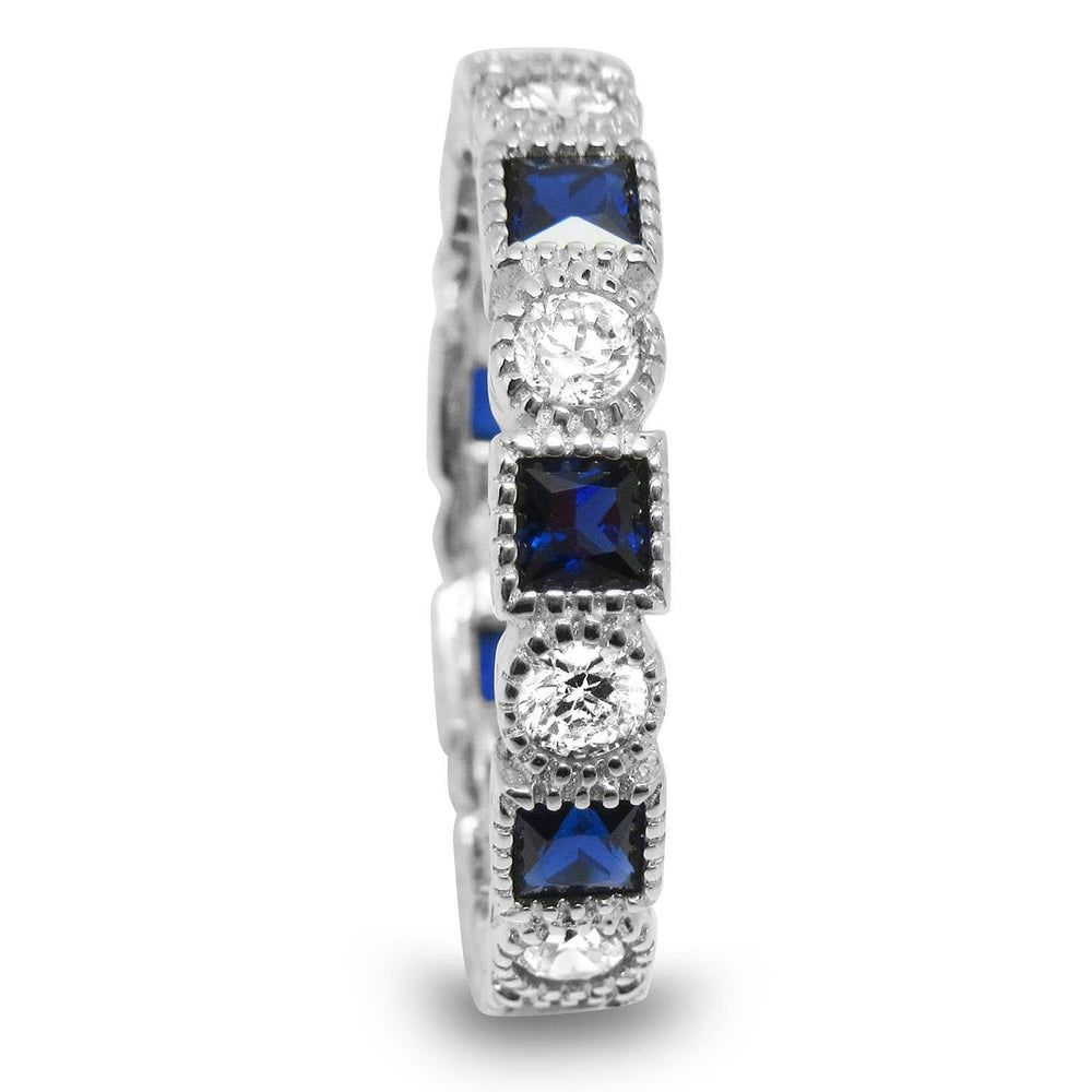 Sterling Silver Simulated Blue Sapphire Cubic Zirconia CZ Art Deco Eternity Band Ring Size 5