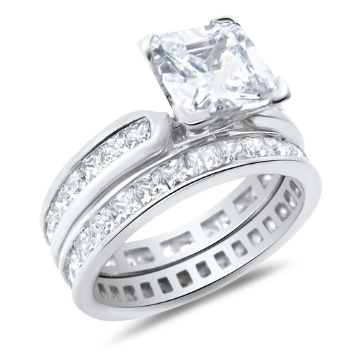 Princess Cut Cubic Zirconia Wedding Ring Set