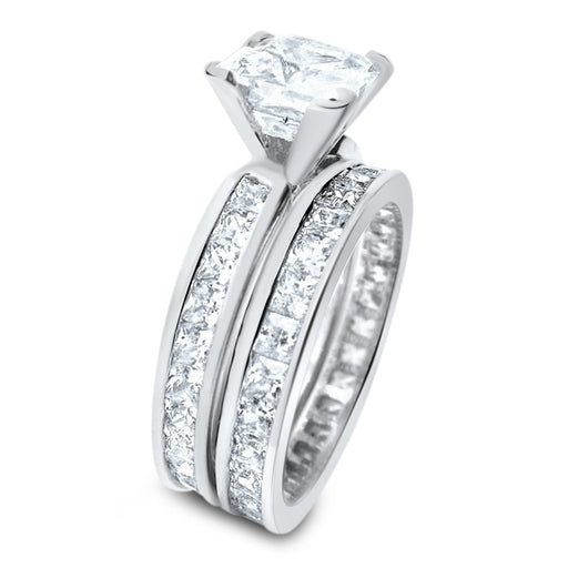 Princess Cut Sterling Silver CZ Wedding Engagement Ring Set