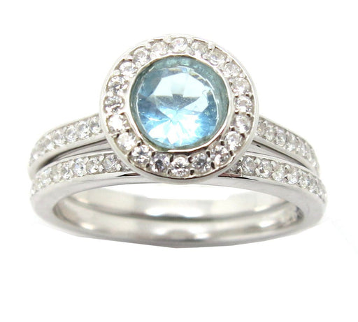Blue Topaz CZ Wedding Rings for Women
