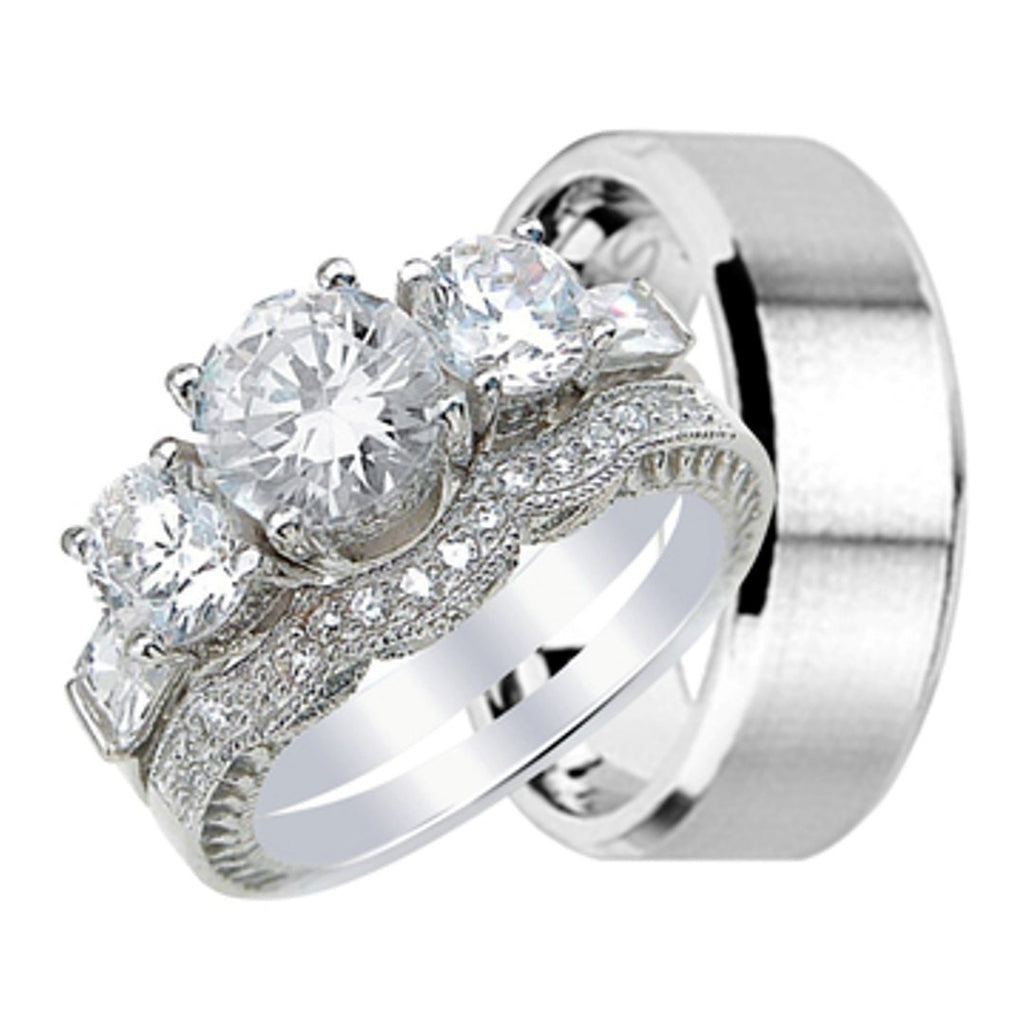 His And Her Wedding Ring Band Set For Him (stainless Steel) And Her (