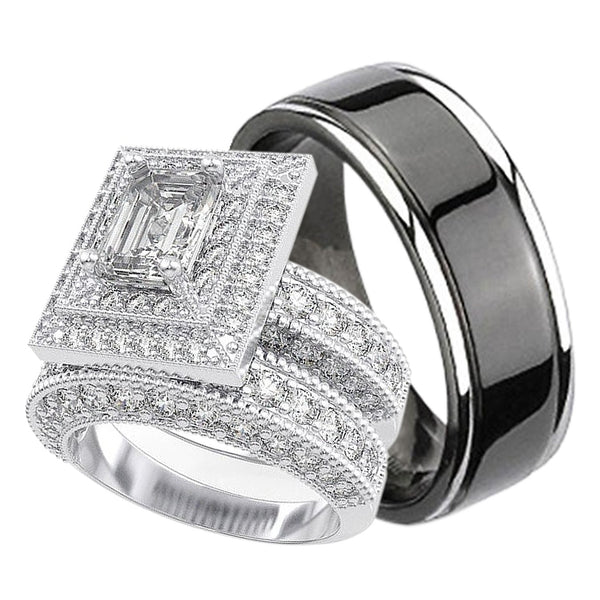 his and hers matching trio wedding engagement ring set - Trio Wedding Ring Set
